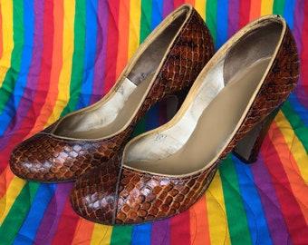 Vintage Snakeskin Mary Jane heels