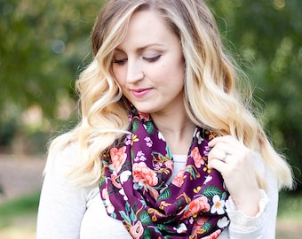 Infinity Scarf, Scarf, Scarves, Womens Scarves, Shawl, Cowl, Scarves For Women, Baby Scarf, Rifle Paper Co - Birch Floral In Eggplant