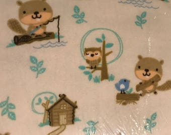 AE Nathan Forest Animals Fishing Owl Bear Raccoon Cotton Flannel Fabric by the Yard