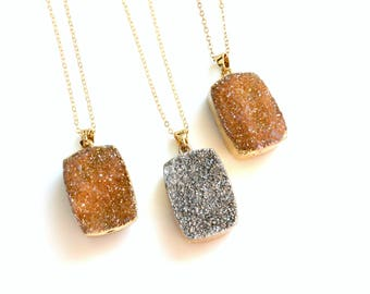 Druzy Square Necklace, Reversible Necklace, Gold Necklace, Long Necklace, Orange or Silver Druzy, Boho Necklace, Druzy Jewelry, Double Sided
