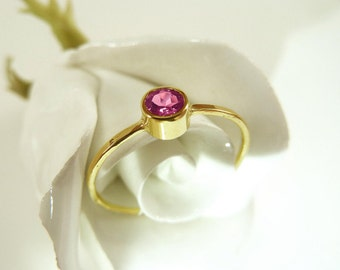 Fine gold ring 14k with pink Tourmaline - Stacking ring, stack ring, engagement ring, yellow gold - handmade by SILVER LOUNGE