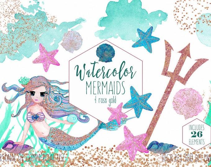 WATERCOLOR MERMAIDS Clipart Commercial Use Clip Art 26 Elements Aqua Pink Rose Gold Confetti Cute Shells Starfish Ocean Watercolor Graphics