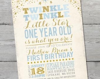 Twinkle Twinkle Little Star Birthday Invitation, PRINTABLE Little Star First Birthday, Twinkle Twinkle Little Star Invitation, ID: BD125902