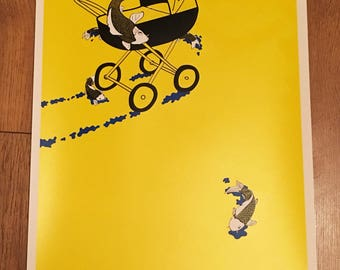 screenprinted poster illustration  - don't throw your coys out the pram -