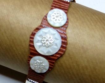 Bracelet leather Pearl - #246