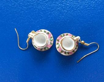Peach Blossom Mini Porcelain Tea Cup (teacup) Earrings
