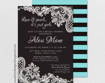 Lace and Pearls Bridal Shower Invitation 2, Customized, Digital File