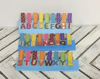 Alphabet decorated clothespins, ABC clothespin clips/magnets, ABC classroom display clips, alphabet magnets, rainbow alphabet