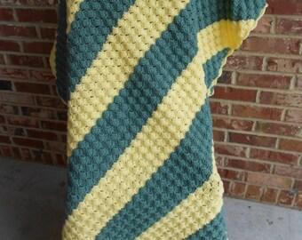 Crochet Afghan, Green and Yellow Stripe Afghan, Diagonal Stripe Afghan, Crochet Throw, Crochet Blanket, Lap Robe,