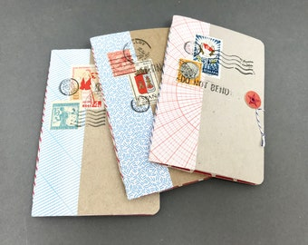 Pocket Notebook Set/ Upcycled Notebooks/ Mini Notebook Set / Handmade Notebooks