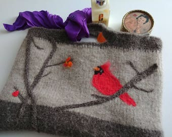 Felted Handbag with Cardinal bird design
