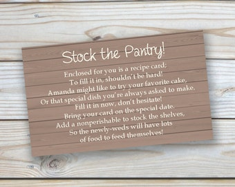 """Printable Customized """"Stock the Pantry"""" Bridal Shower Insert-3x5 size"""