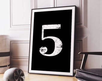 "Digital Print ""5"" Number Five Printable Poster Numerology Number Art Wall Decor Typography No 5 Wall Art Digital Download *DIY PRINT*"
