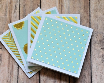 Mint Green and Gold Mini Cards // Set of 4 // Blank Cards // Enclosure Cards // Gold Foil // Love Note // Gift Tag