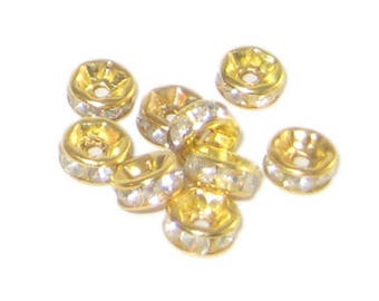6mm Gold Rhinestone Spacer Beads, 10 spacers