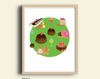 illustration art print, printable illustration, printable art print, printable wall art, printable colorful poster, food, sweets, art print