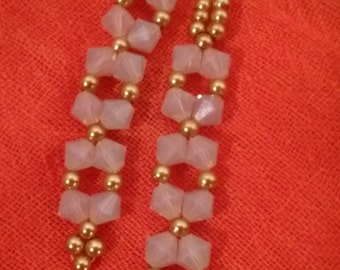 Swarovski Bicone Milky White Earrings with Gold Pearls
