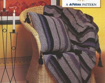 Patons Knitting Pattern Ceramic Blues Throw and cushion cover , Aran blankets , Patons 2133, aran throw afghan , blue cushion