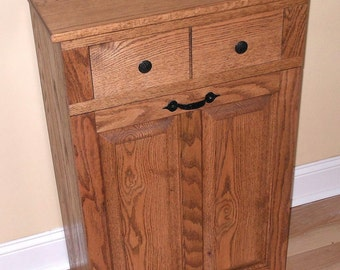 Oak Tilt out Trash Can/ Trash Bin/ Cabinet to hide Trash with draw