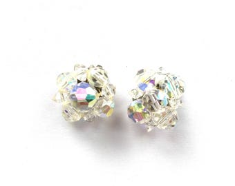Vintage Crystal Earrings - 1940s Aurora Borealis Crystal Clip-On Earrings - Austrian Crystal Earrings - Vintage Women's Jewelry