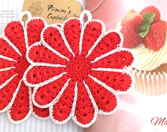 Crochet Potholders, Crocheted Potholders, Red Potholders, Flower Potholders, Kitchen Decor