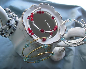 Memory Wire Bracelets, AquaMarine, Red, Black and White, Silver and Gold