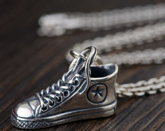 Antique Style Sterling Silver Converse All Star Shoes Pendant Necklace