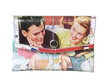 Snap coin purse using vintage ads - FREE SHIPPING - vegan wallet, vegan gift, upcycled coin purse