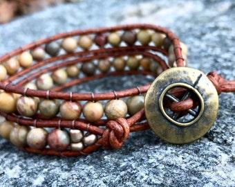 Rainbow Jasper Double Wrap Bracelet, Natural Double Wrap Bracelet, Neutral Wrap Bracelet, Boho Wrap Bracelet, Healing Bracelet