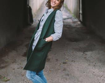 Wool Vest, Emerald Vest, Long Vest, Vest with Pockets, Casual Vest, Comfortable Vest, Winter Long Vest