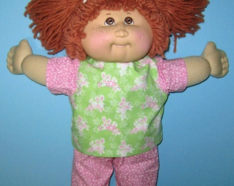 Cabbage Patch Doll Clothes, Bunny Capri Set, CPK Classic Vintage Doll Clothes, 15 16 inch Doll Clothes, pink and green, Birthday Gift