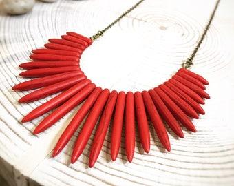 Red Stone Fringe Necklace