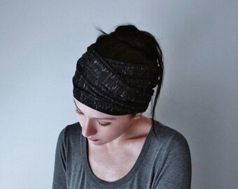 HEATHER BLACK Head Scarf, Black and White Jersey Head Wrap, Extra Wide Headband, Yoga Headband, Boho Head Scarf, Headbands for Women