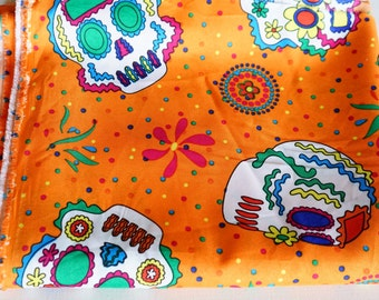 Day of the Dead Orange Fabric, Printed Lightweight Fabric