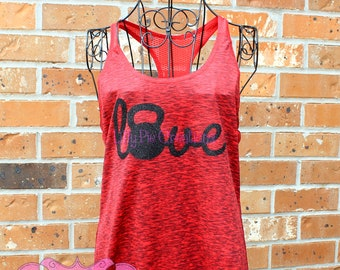 Kettle Belle Love Workout Tank for Women, Kettle Bell Shirt, Workout Tank Top, Ladies Workout Shirt, Exercise Tanks for Women, Made to Order