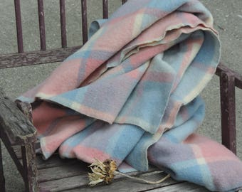Vintage Wool Blanket 100% Wool Plaid Pastel Blue Pink and Cream Zig Zag Finished Edging