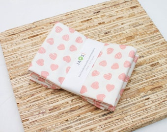 Large Cloth Napkins - Set of 4 - (N5186) - Pink Hearts Modern Reusable Fabric Napkins