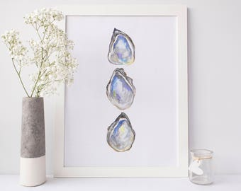 Oyster Pearl Art, Oyster Prints, Oyster Watercolor, Watercolor Art, Beach Gift Idea, Seaside Art Print, Coastal Decor New Orleans Artwork