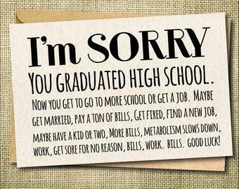 Congrats Grad Card, Sorry Grad, Congratulations Card, Graduation Card, celebration card, high school graduation card, congrats from parents