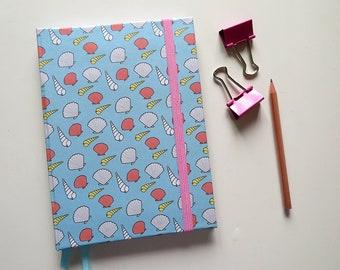 Sea shells Pattern - Dot Grid A5 Notebook - Hardcover Bullet Journal - Bujo
