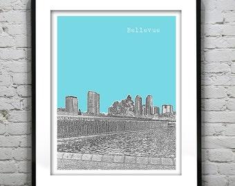 Bellevue Washington Skyline Poster Art Print