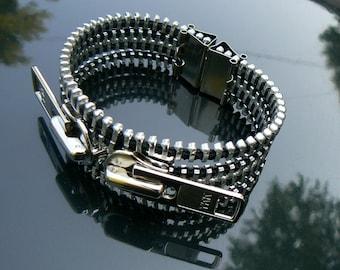 Industrial Zipper Cuff Bracelet