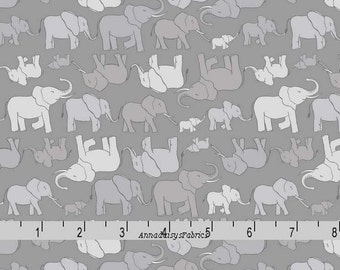 Gray Elephants Fabric, Lewis & Irene Fabric, Welcome To The World A216 3, Small Elephants Quilt Fabric, Baby Fabric, Cotton Yardage