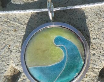 Abstract Wave Cloisonne Pendant
