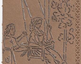 Vintage McLoughlin Bros Girls Swinging Stencil, 1828-1920