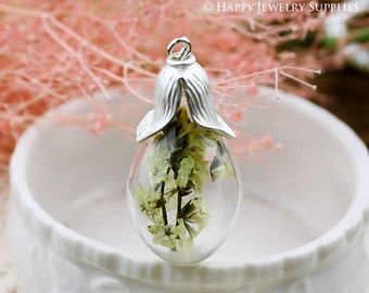 2.5 per set - 5 sets 18X38mm Clear Glass Teardrop Bottle with Flower Cover (GBF01)