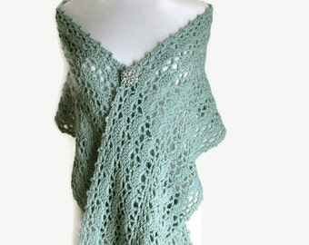 Large Teal Green Shawl - Green Knit Stole - Large Green Scarf