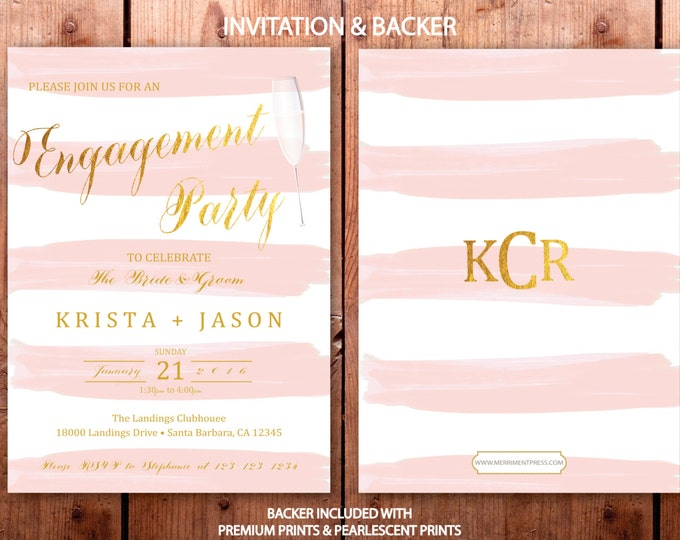 Pink and Gold Engagement Party Invitation, Pink Striped Engagement Invitation, Classy engagement announcement - SANTA BARBARA COLLECTION