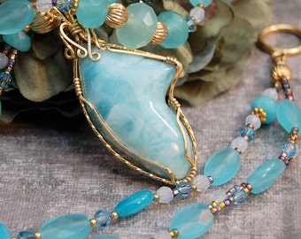 Genuine Larimar AAA Necklace Earrings Set 14K GF Calcedony Blue Quartz Fine Jewelry One of a Kind Cool Blue Waters Jewelry Set