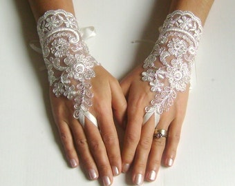 Lace bridal glove ivory glove silver cord